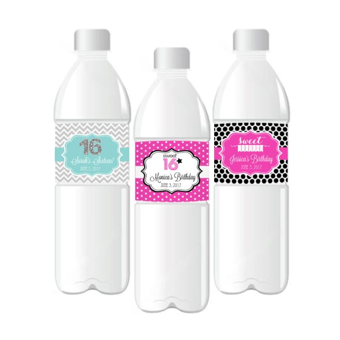 Personalized Sweet 16 Or 15 Water Bottle Labels