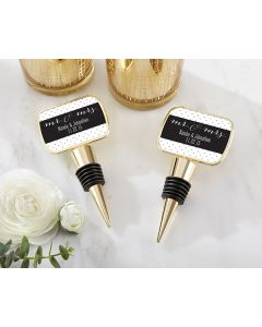 Personalized Gold Bottle Stopper with Epoxy Dome - Mr and Mrs