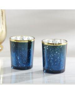 Blue Mercury Glass Tea Light Holder (Set of 4)