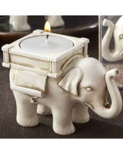 Lucky Elephant Antique Ivory-Finish Tea Light Holder