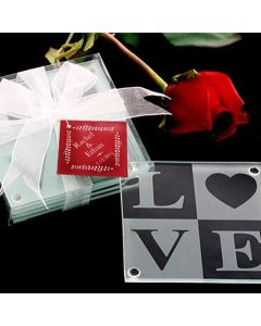 LOVE Glass Coaster Gift Set with Ribbon (package of 4)