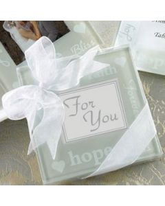 'Good Wishes' Pearlized Photo Coasters