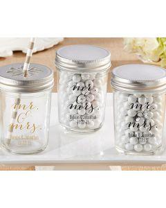 Personalized Printed Mason Jar - Mr. & Mrs. (Set of 12)