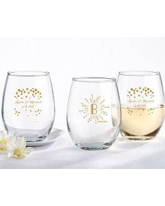 9 oz. Stemless Wine Glass - Milestone Gold