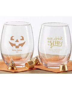 Personalized 9 oz. Stemless Wine Glass - Halloween