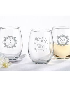 9 oz. Stemless Wine Glass - Milestone Silver