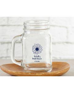 Personalized 16 oz. Mason Jar Mug - Sunflower