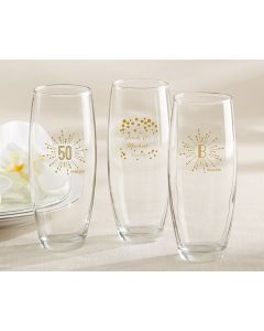9 oz. Stemless Champagne Glass - Milestone Gold
