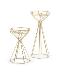 Tall Gold Geometric Candle Holder Set