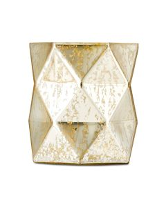 Gold Geo Mercury Glass Hurricane Vase