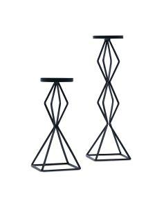 Tall Geo Pillar Candle Holder Set Of 2 - Black