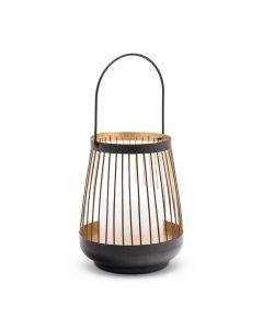 Large Geometric Metal Wire Hanging Lantern - Black & Gold