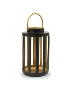 Metal Cylinder Hanging Lantern - Black & Gold - Set Of 2