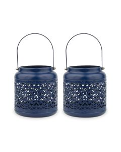 Small Vintage Metal Hanging Lanterns - Dark Blue - Set Of 2