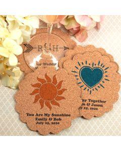 Personalized Scalloped Cork Coasters
