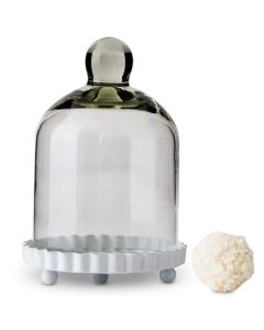 4 Miniature Glass Bell Jar With White Fluted Base