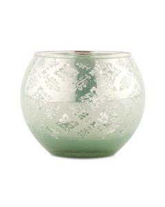 Large Glass Globe Votive Holder With Reflective Lace Pattern (4) - Daiquiri Green