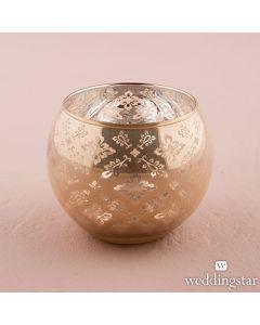 Glass Globe Votive Holder With Reflective Lace Pattern (set of 4)