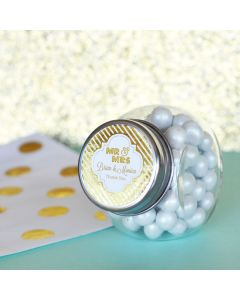 Personalized Metallic Foil Candy Jars - Wedding