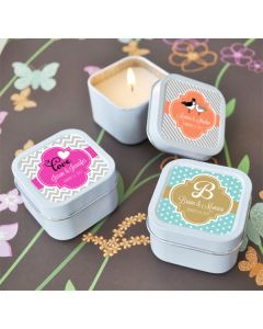 Personalized Square Theme Candle Tins