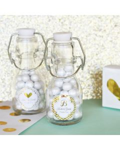 Personalized Metallic Foil Mini Glass Bottles - Wedding