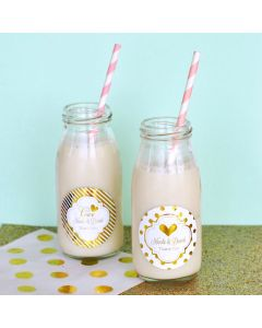 Personalized Metallic Foil Milk Bottles - Wedding