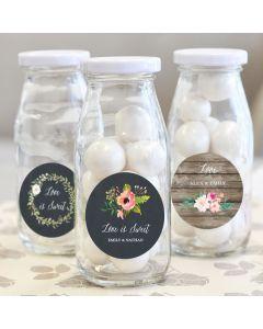 Personalized Floral Garden Milk Bottles