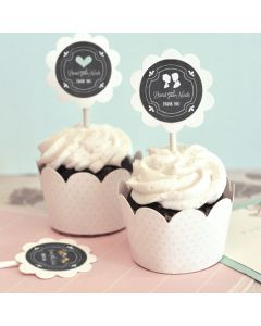 Chalkboard Wedding Cupcake Wrappers & Cupcake Toppers (Set of 24)
