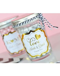 Personalized Metallic Foil Mini Mason Jars - Wedding