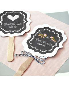 Personalized Chalkboard Wedding Paddle Fans