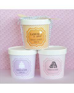 """Love is Sweet"" Mini Ice Cream Containers"