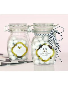 Personalized Metallic Foil Glass Jar with Swing Top Lid - Wedding SMALL