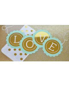 Personalized Metallic Foil Scallop Banner - Wedding