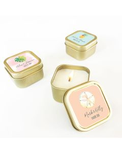 Personalized Tropical Beach Gold Square Candle Tins