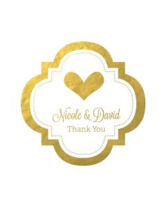 "Personalized Metallic Foil 1.5"" Mini Favor Labels - Wedding"