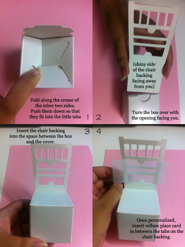Assemble Instructions for Chair Place Card Boxes 3